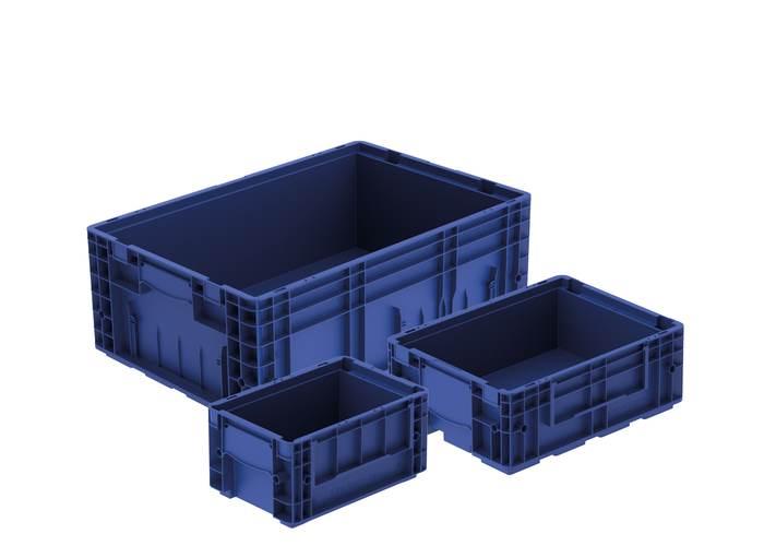 Niebieskie skrzynki plastikowe dla przemysłu motoryzacyjnego i warsztatu samochodowego od producenta bekuplast